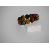 Bracelet 3 oeils pierres rondes (Tigre, taureau, faucon)