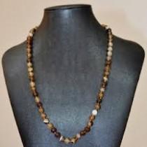 Collier perles rondes en Agate marron
