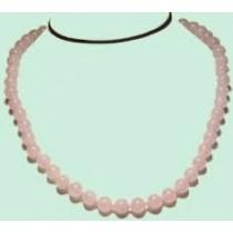 Collier perles rondes quartz rose