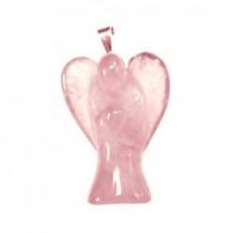 Quartz rose pendentif ange